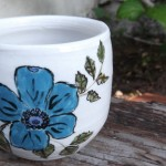 Blue with Black Flower Cup