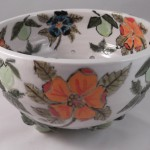 Orange Flower Berry Bowl