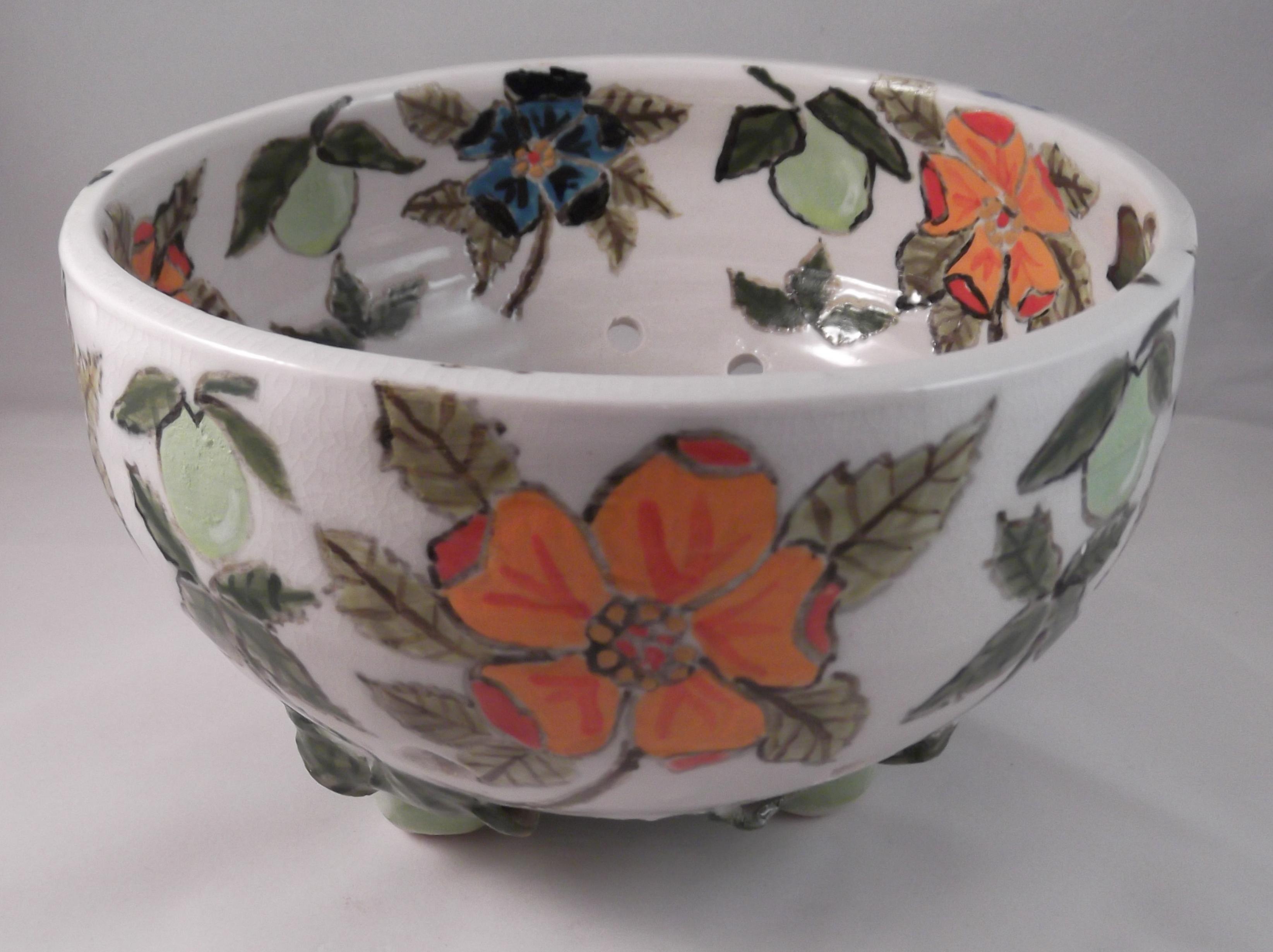 Orange Flower Berry Bowl